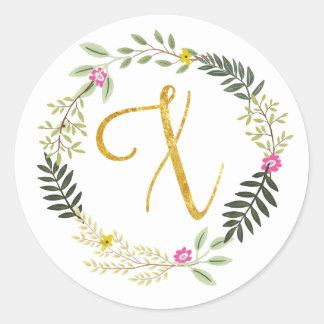 Gold Monogram Leaf X Classic Round Sticker
