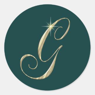 Gold Monogram Letter G Initials Classic Round Sticker