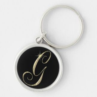 Gold Monogram Letter G Initials Silver-Colored Round Keychain