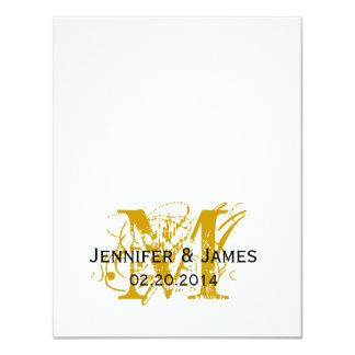 "Gold Monogram Names Wedding Reply Cards 4.25"" X 5.5"" Invitation Card"