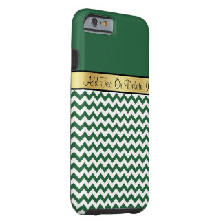Gold Monogram On Chic Billiard Green White Chevron Tough iPhone 6 Case