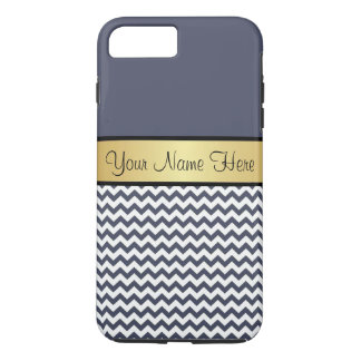 Gold Monogram On Chic Delft Blue & White Chevron iPhone 7 Plus Case