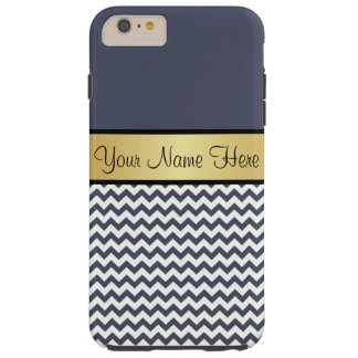 Gold Monogram On Chic Delft Blue & White Chevron Tough iPhone 6 Plus Case