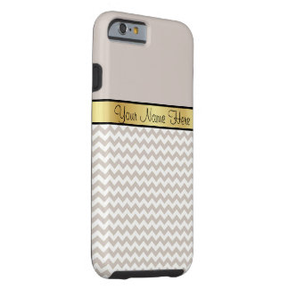Gold Monogram On Chic Sand Gray & White Chevron Tough iPhone 6 Case