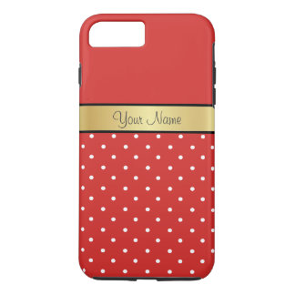 Gold Monogram On Chic Tomato Red, White Polka Dots iPhone 8 Plus/7 Plus Case