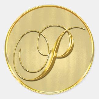 Gold Monogram P Seal Round Sticker