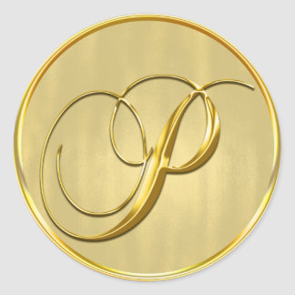 Gold Monogram P Seal Wedding Invitation Holiday Round Sticker