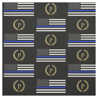 Gold Monogram Police Flag Fabric
