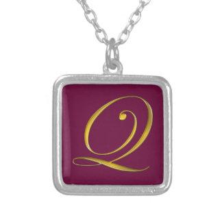 Gold Monogram Q Initial Necklace