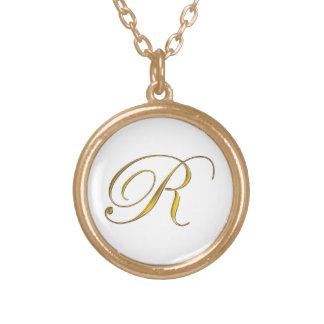 Gold Monogram R Initial Necklace