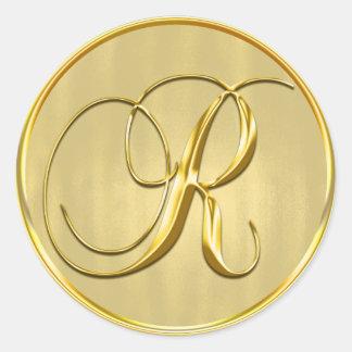 Gold Monogram R Seal Wedding Invitation Holiday