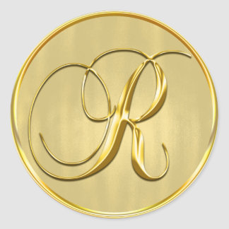 Gold Monogram R Seal Wedding Invitation Holiday Round Sticker