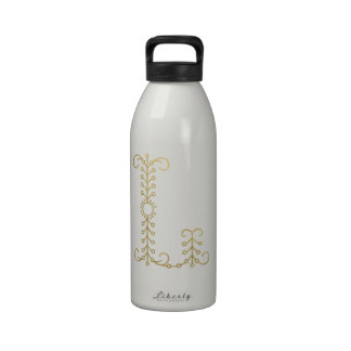 Gold Monogram Reusable Water Bottle