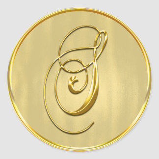 Gold Monogram S Seal Round Sticker