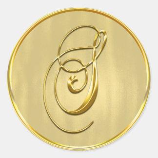 Gold Monogram S Seal Round Sticker