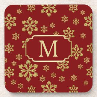 Gold Monogram Snowflake on Maroon Red Coaster