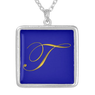 Gold Monogram T Initial Necklace