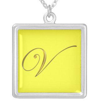 Gold Monogram V Initial Necklace