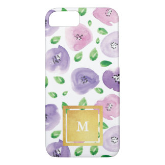 Gold Monogram Watercolor Floral Pattern iPhone 7 Case