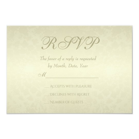 Gold Monogram Wedding RSVP Card