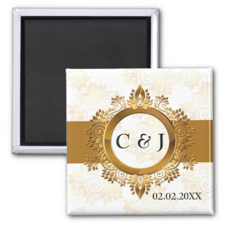 gold monogram wedding save the date magnets