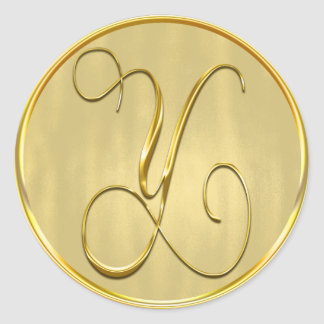 Gold Monogram Y Seal Round Sticker