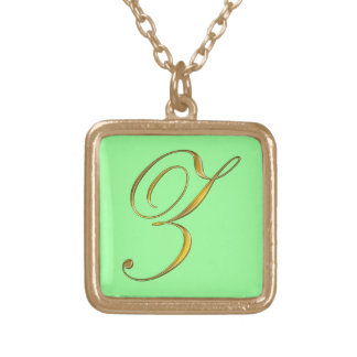 Gold Monogram Z Initial Necklace
