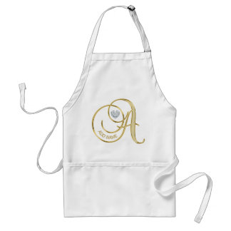 Gold Monogrammed Heart Diamond Letter A - Add name Standard Apron
