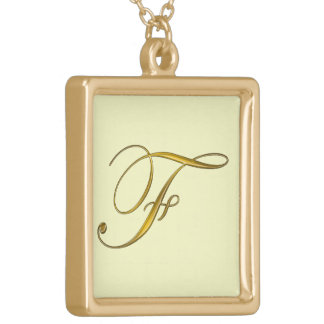 Gold Monograms Initial F Necklace