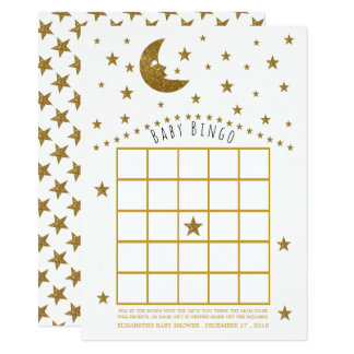 Gold Moon and Stars Baby Shower Bingo Card