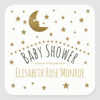 Gold Moon and Stars Baby Shower Square Sticker