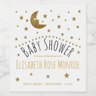 Gold Moon and Stars Baby Shower Wine Label