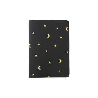 Gold Moon and Stars Passport Holder