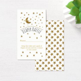 Gold Moon & Stars Baby Shower Diaper Raffle Ticket