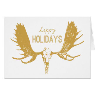 Gold Moose Skull Art Hunter / Boho Happy Holidays Card