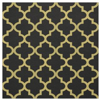 Gold Moroccan Quatrefoil | Black Pattern Fabric