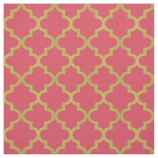 Gold Moroccan Quatrefoil | Pink Pattern Fabric