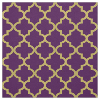 Gold Moroccan Quatrefoil | Purple Pattern Fabric