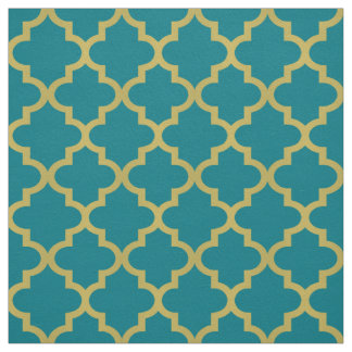 Gold Moroccan Quatrefoil | Teal Pattern Fabric