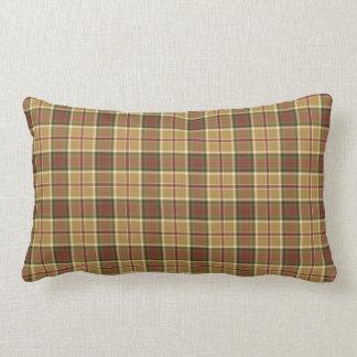 Gold, Moss Green and Red Plaid Lumbar Pillow