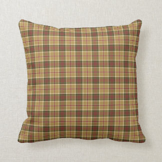 Gold, Moss Green and Red Plaid Throw Pillow