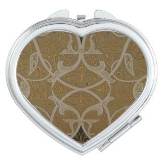 Gold Motif  Heart Compact Mirror