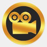 Gold Movie Camera Symbol Classic Round Sticker