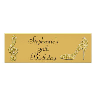 Gold Music Note and Stiletto 30th Birthday Poster