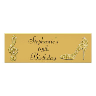 Gold Music Note and Stiletto 65th Birthday Poster