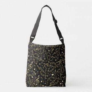 Gold Music Notes and Clefs On Black Tote Bag
