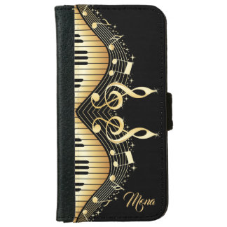 Gold Music Notes Black Background iPhone 6 Wallet Case