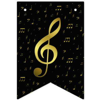 gold music notes bunting flags