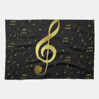 gold music notes kitchen towels