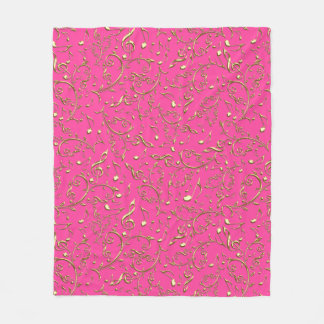 Gold Music Notes On Hot Pink or Any Color Blanket